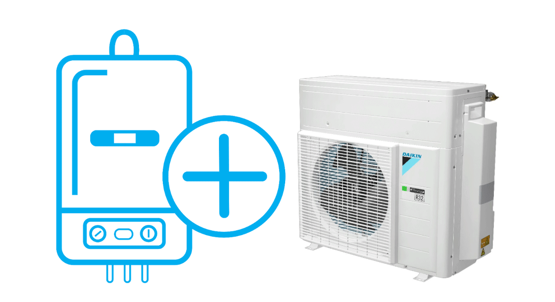 Boiler symbol with + icon next to a Daikin outdoor unit.